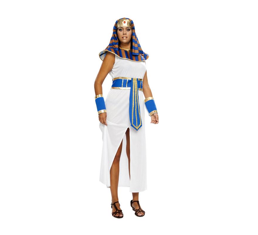 Disfraz de Faraona para mujeres. Talla XXL 48/52. Incluye tocado de la cabeza, cuello, túnica, cinturón y muñequeras. Disfraz de Egipcia o Cleopatra para mujer.