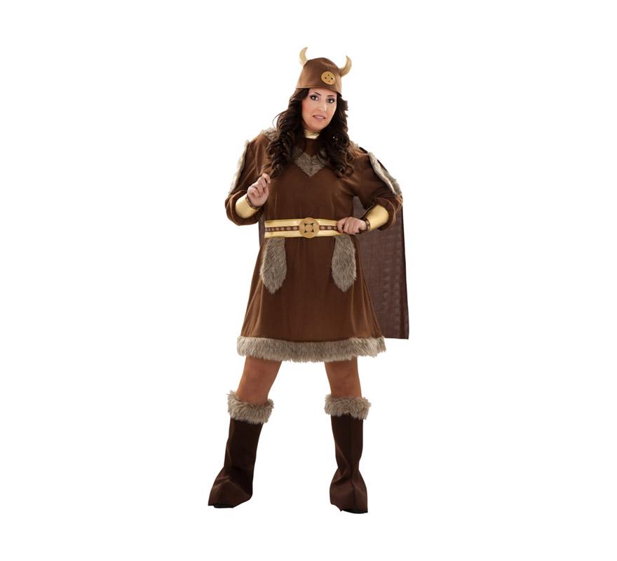 Disfraz de Vikinga para mujer. Talla XXL 48/52. Incluye casco de tela, vestido con capa, cinturón y botas de tela. Éste disfraz de Bárbara no pasa de moda, es todo un clásico.