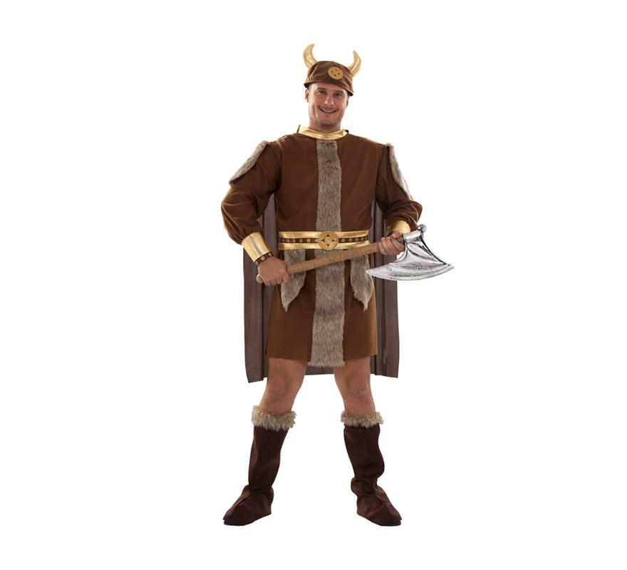 Disfraz de Vikingo para hombre. Talla XXL 58/62. Incluye gorro de tela, traje con capa, cinturón y botas de tela. Hacha NO incluida, podrás verla en la sección de Complementos. Éste traje de Bárbaro de hombre es un clásico pero no pasa de moda.