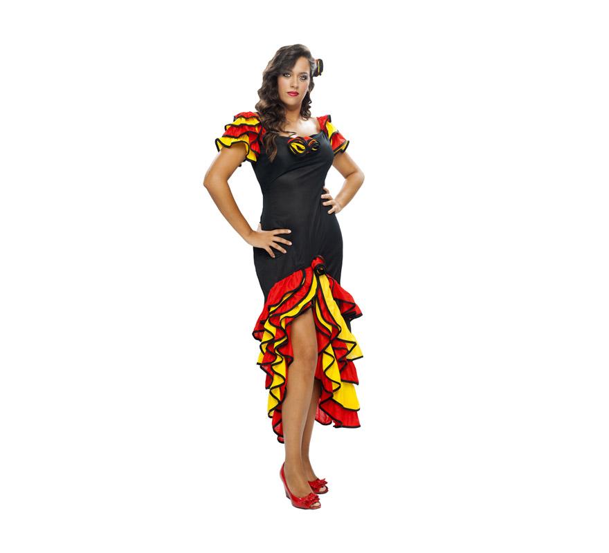 Disfraz de Bailarina de Rumba barato para Carnaval. Talla XXL de mujer. Incluye vestido y flor para el pelo. También sirve como disfraz de Rumbera y Andaluza o Sevillana.