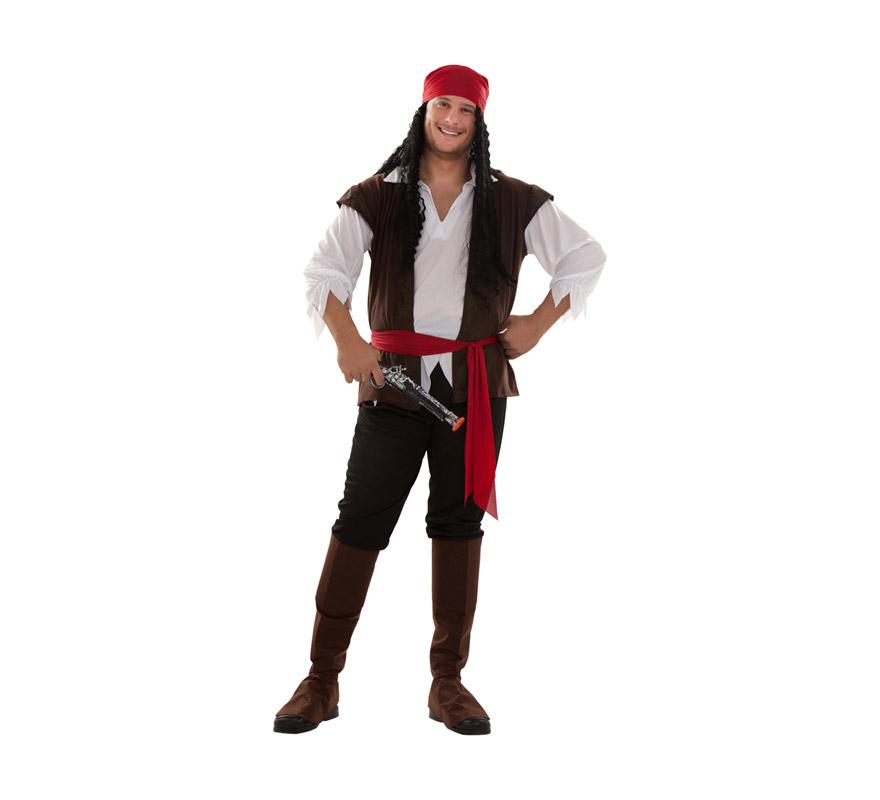 Disfraz de Pirata para hombre. Talla XXL = 58/62. Incluye turbante, camisa, cinturón, pantalón y cubrebotas. Peluca y trabuco NO incluidos, podrás encontrarlos en nuestra sección de Complementos.