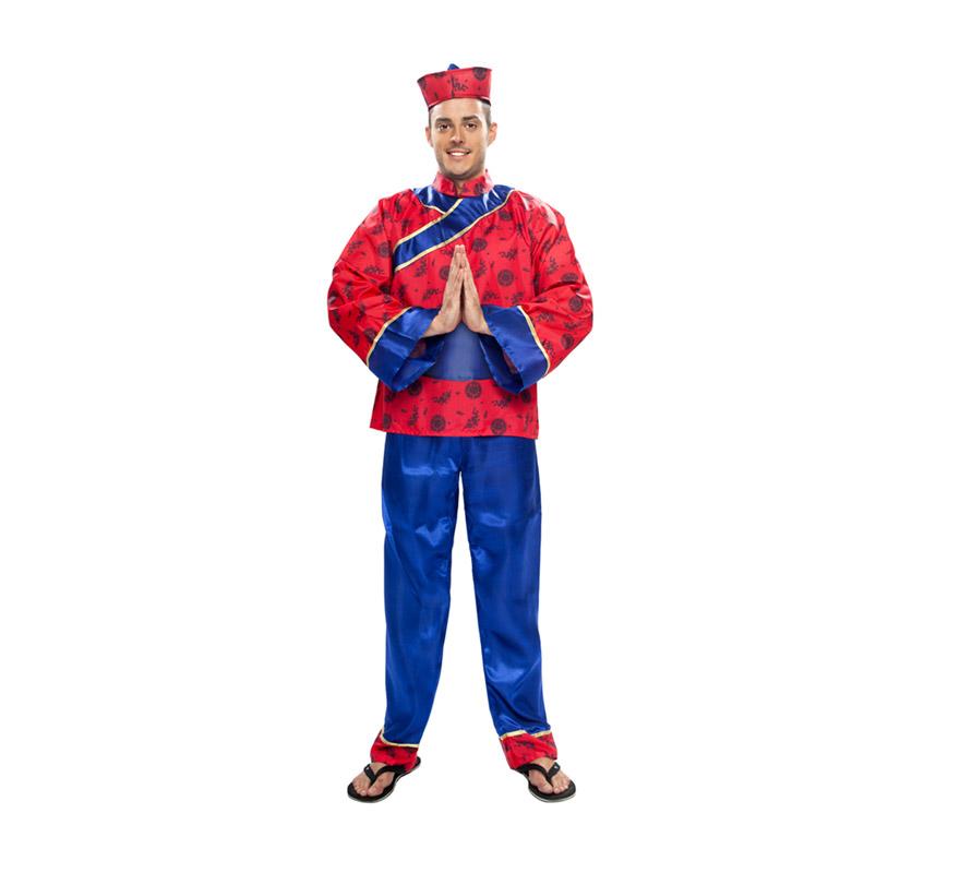 Disfraz de Chino para hombre. Talla XXL = 58/62. Incluye sombrero, camisa, cinturón y pantalones.