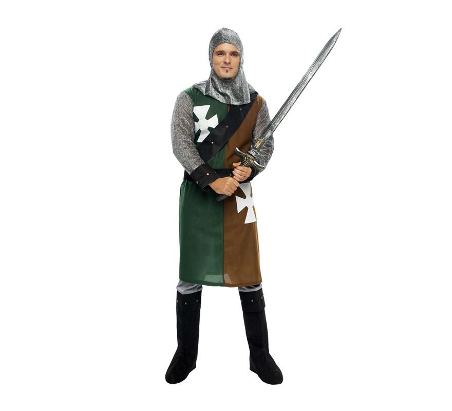 Disfraz de Caballero Medieval para hombre. Talla XXL 58/62.  Incluye verdugo, casaca, cinturón y pantalones-botas de tela. Hacha NO incluida, podrás verla en la sección de Complementos.