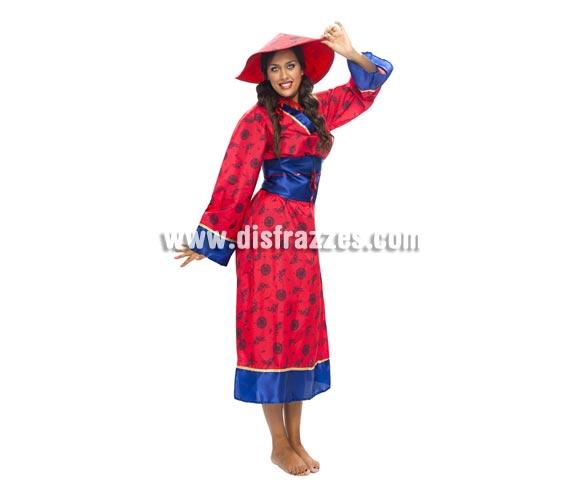 Disfraz barato de China para mujer. Talla XXL = 48/52. Incluye sombrero, vestido y cinturón.