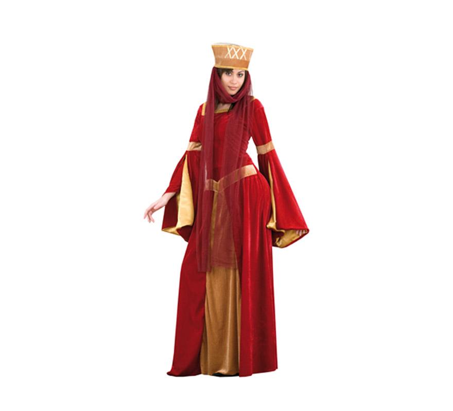 Disfraz de Lady Ginebra para mujer. Talla XXL = 48/52. Incluye vestido y tocado con tul. Un disfraz ideal para Fiestas Medievales.