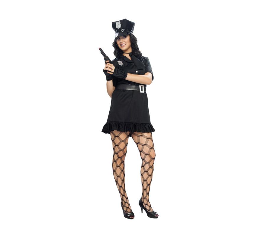 Disfraz de Policia Sexy para mujer. Talla XXL = 48/52. Incluye gorra, vestido, cinturón, corbata y guantes o mitones. Pistola NO incluida, podrás verla en la sección de Complementos - Armas.
