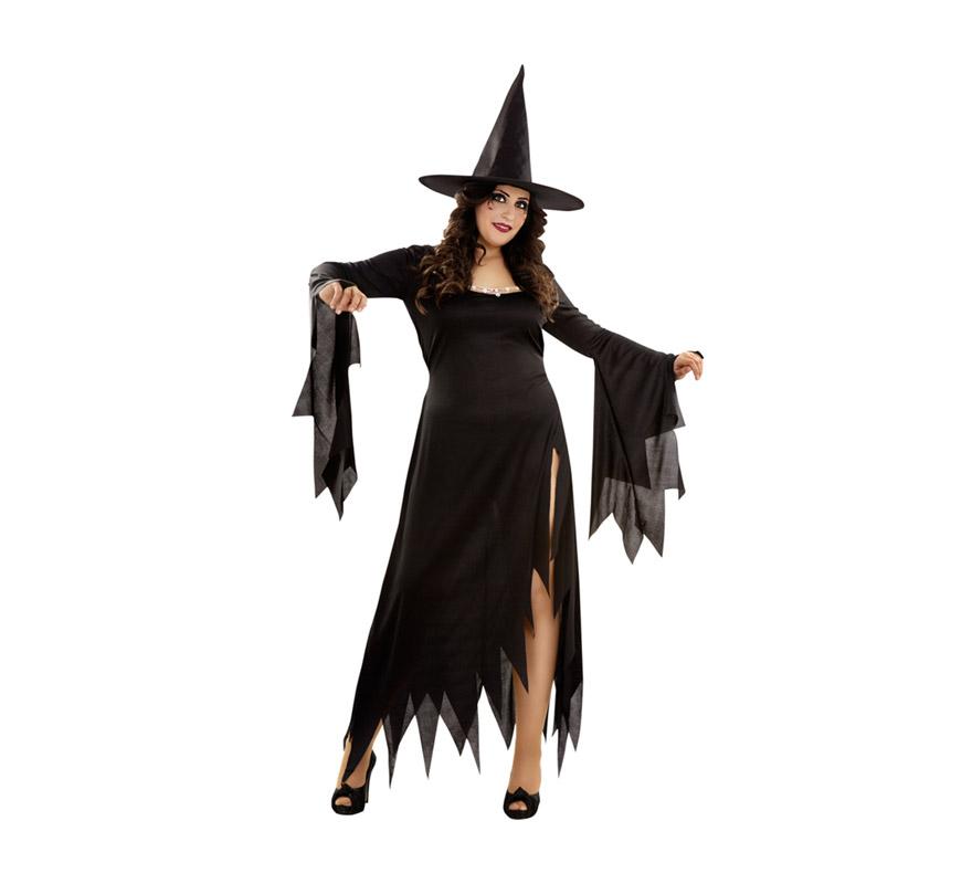 Disfraz de Bruja Mística para Halloween. Talla XL 44/48. Incluye vestido y sombrero.
