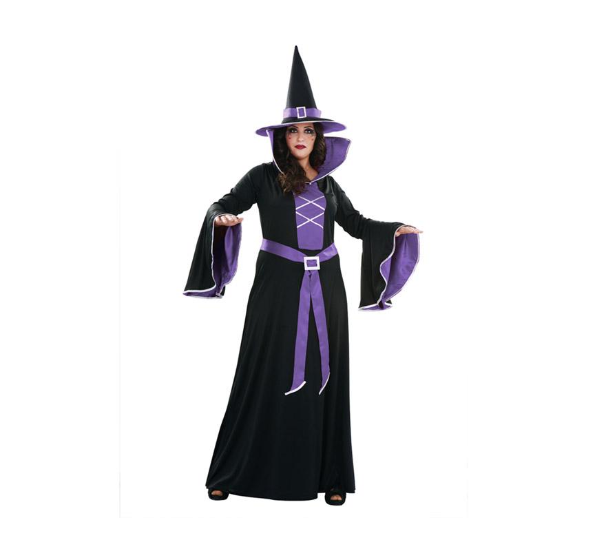 Disfraz de Bruja Morada adulta para Halloween. Talla XL = 44/48. Disfraz de Halloween barato que incluye el sombrero, el vestido largo y el cinturón.
