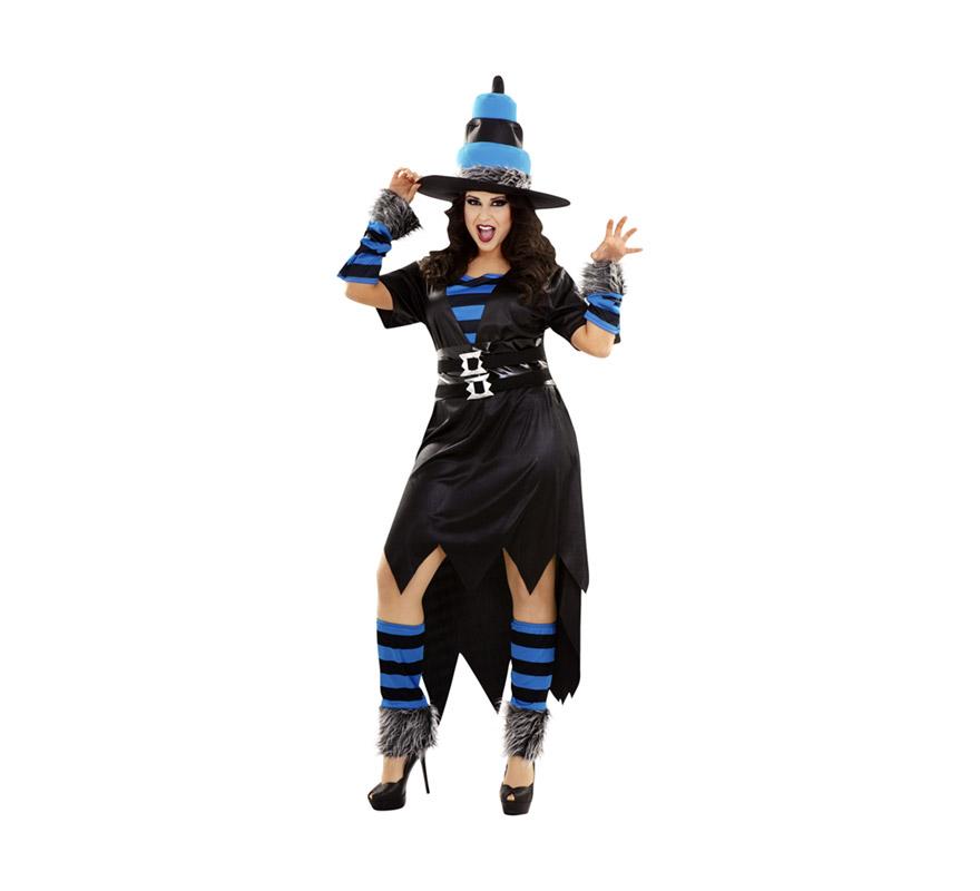 Disfraz de Bruja Caprichosa para mujer. Talla XL = 44/48. Incluye sombrero, vestido, cinturón, manguitos, calentadores y gargantilla.