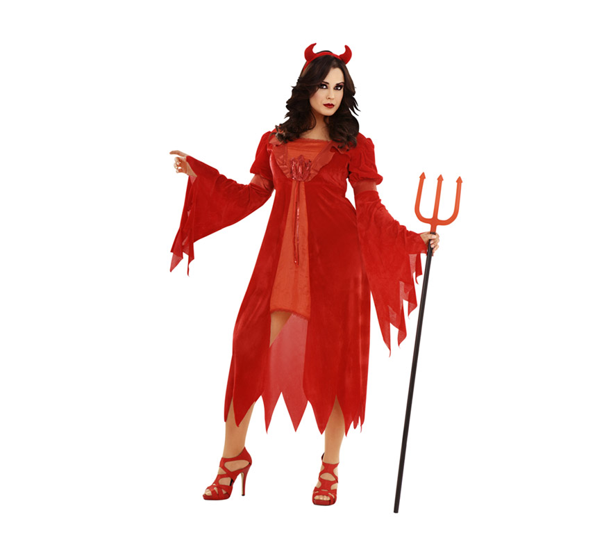Disfraz de Diablesa lujosa adulta para Halloween. Talla XL 44/48. Disfraz de Halloween barato que incluye vestido y cuernos. Tridente NO incluido, podrás verlo en la sección de Complementos.