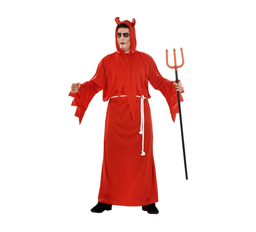 Disfraz de Diablo con túnica adulto para Halloween. Talla XL = 54/58. Disfraz barato para Halloween que incluye toga con capucha y cinturón. Tridente NO incluido, podrás verlo en la sección de Complementos para Halloween.