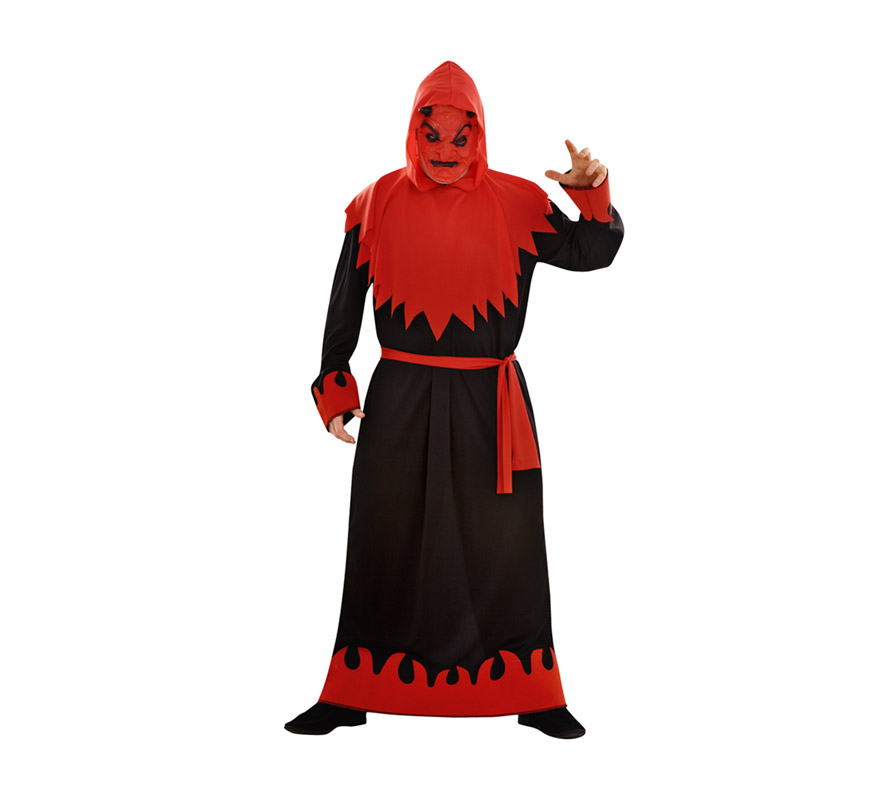 Disfraz de Demonio o Diablo Siniestro adulto para Halloween. Talla standar XL = 54/58. Disfraz barato para Halloween que incluye máscara, capa con capucha, túnica y cinturón.