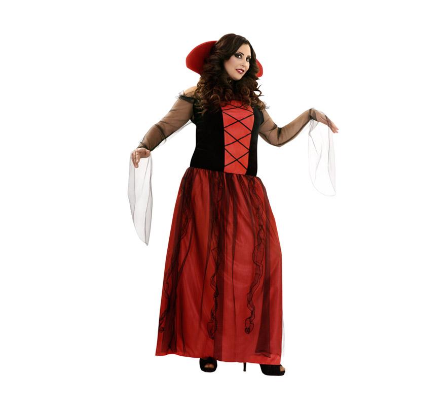 Disfraz barato de Vampiresa para mujer. Talla XL 44/48. Incluye vestido y cuello.