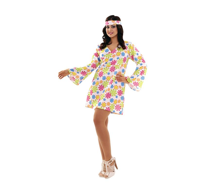 Disfraz o vestido super barato de Hippie para mujer. Talla XL = 44/48. Incluye vestido y cinta de la cabeza.