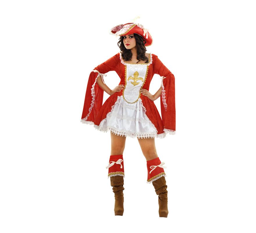 Disfraz de Lady Mosquetera adulta. Talla XL 44/48. Incluye vestido, gargantilla, sombrero, cubrebotas y enagua. Disfraz de Mosquetera Sexy para mujer.