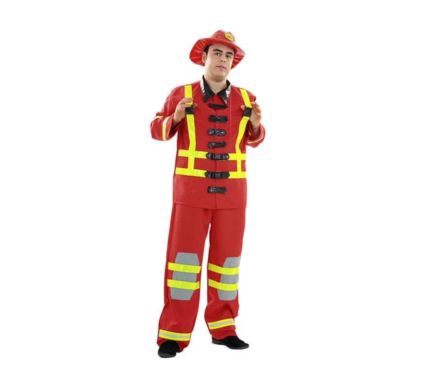 Disfraz de Bombero adulto. Talla XL 54/58. Incluye sombrero, chaqueta y pantalones. Tenemos un extintor con ref. 05296BT que es hinchable y es perfecto para éste disfraz.