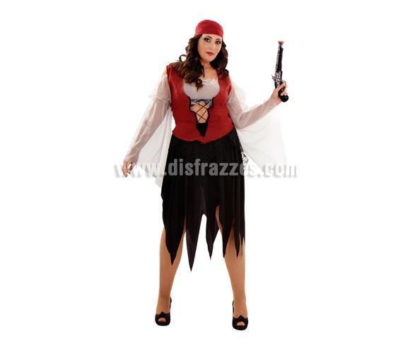 Disfraz de mujer Pirata adulta. Talla XL = 44/48. Incluye camisa con chaleco, falda y pañuelo. Trabuco NO incluido, podrás verlo en la sección de Complemetos.