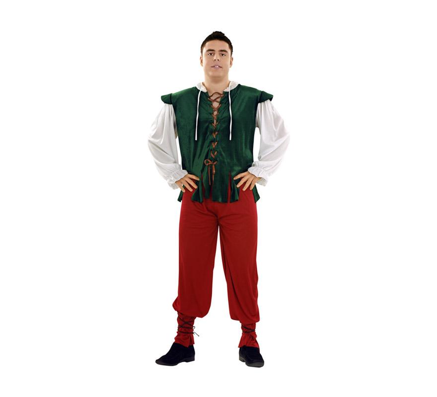 Disfraz de Tabernero para hombre. Talla XL = 54/58. Incluye chaqueta, pantalón y dos cintas para los bajos del pantalón. Disfraz de Posadero o Mesonero ideal para Ferias y Fiestas Medievales.