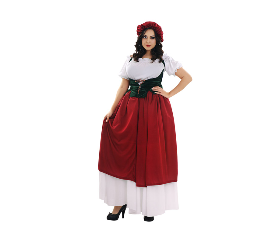 Disfraz de Tabernera para mujer. Talla XL 44/48. Incluye falda, camisa y corpiño. Sombrero NO incluido. Disfraz de Posadera o Mesonera ideal para Ferias y Fiestas Medievales