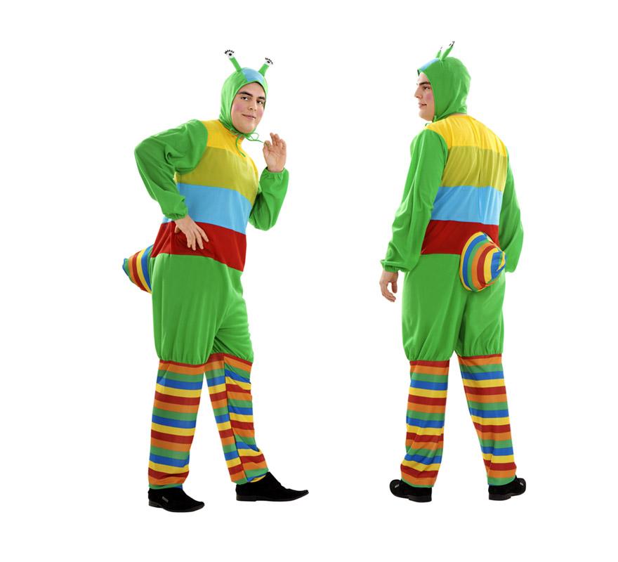 Disfraz de Gusano multicolor para hombre. Talla XL 54/58. Incluye mono y gorro.