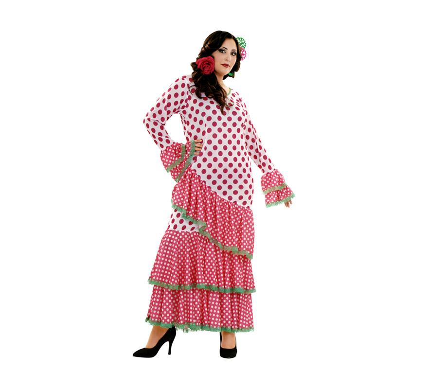 Disfraz Bulería rosa y blanco para mujer. Talla XL = 44/48. Incluye vestido. Accesorios NO incluidos, podrás ver algunas referencias en la sección de Complementos. Disfraz de Flamenca, Sevillana o Gitana perfecto para la Feria.