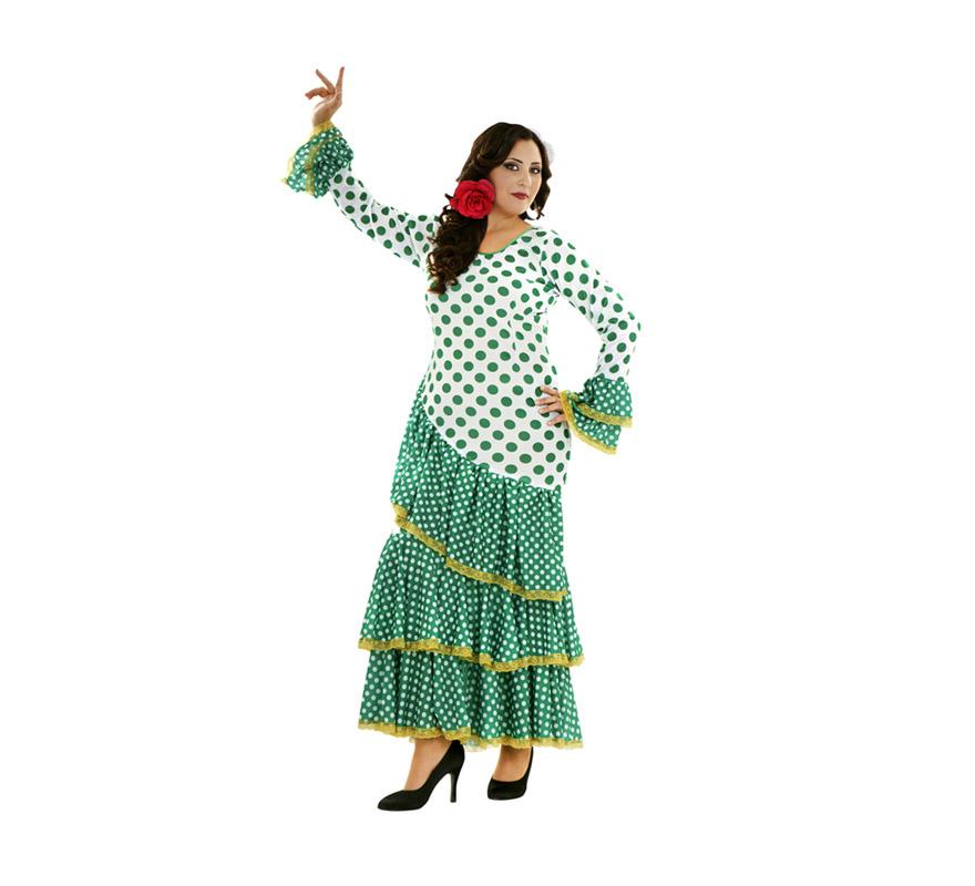 Disfraz de Soleá verde y blanco para mujer. Talla XL = 44/48.  Incluye vestido. Disfraz de Sevillana, Flamenca o Gitana para mujer.