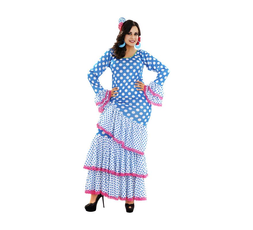 Disfraz de Zambra azul y blanco para mujer. Talla XL = 44/48. Incluye vestido. Accesorios NO incluidos, podrás ver algunos modelos en la sección de Complementos. Disfraz de Sevillana, Flamenca o Gitana perfecto para la Feria. Oole!