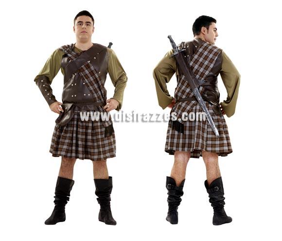 Disfraz de Guerrero Escocés para hombre. Talla XL 54/58. Disfraz de Braveheart. Incluye camisa, falda, manto, coraza, bandolera, muñequeras y cinturón-bolsa. Espada NO incluidas, podrás verla en la sección Complementos. Botas NO incluidas. Un disfraz Medieval de Guerrero ideal para hombres de talla XL.
