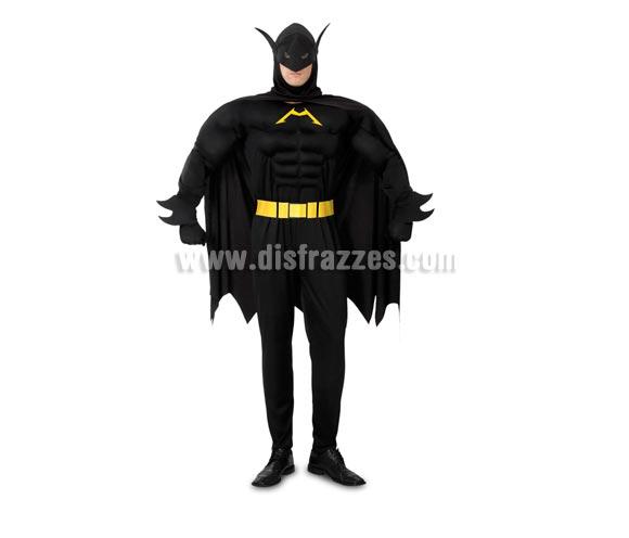 Disfraz barato de Murciélago Musculoso o de Madman para hombre. Talla XL 54/58. Incluye mono con músculos, cinturón y capa con capucha. Con éste disfraz, Batman te tendría envidia,