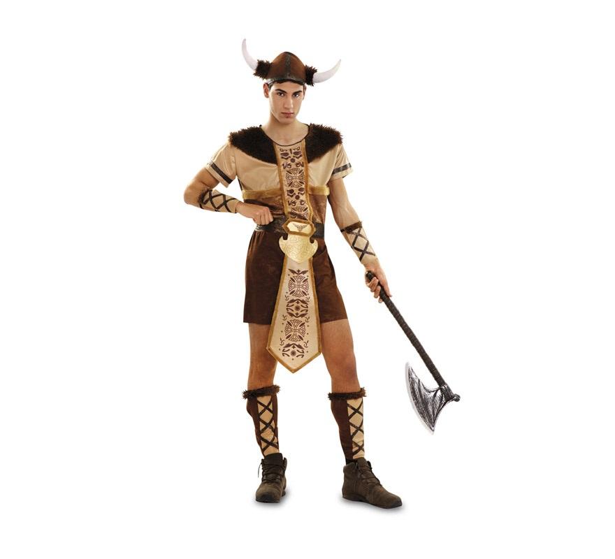 Disfraz de Vikingo o Bárbaro para hombre. Talla Standar M-L 52/54. Incluye top, sombrero, muñequeras, cinturón y espinilleras. Hacha NO incluida, podrás verla en la sección de Complementos.