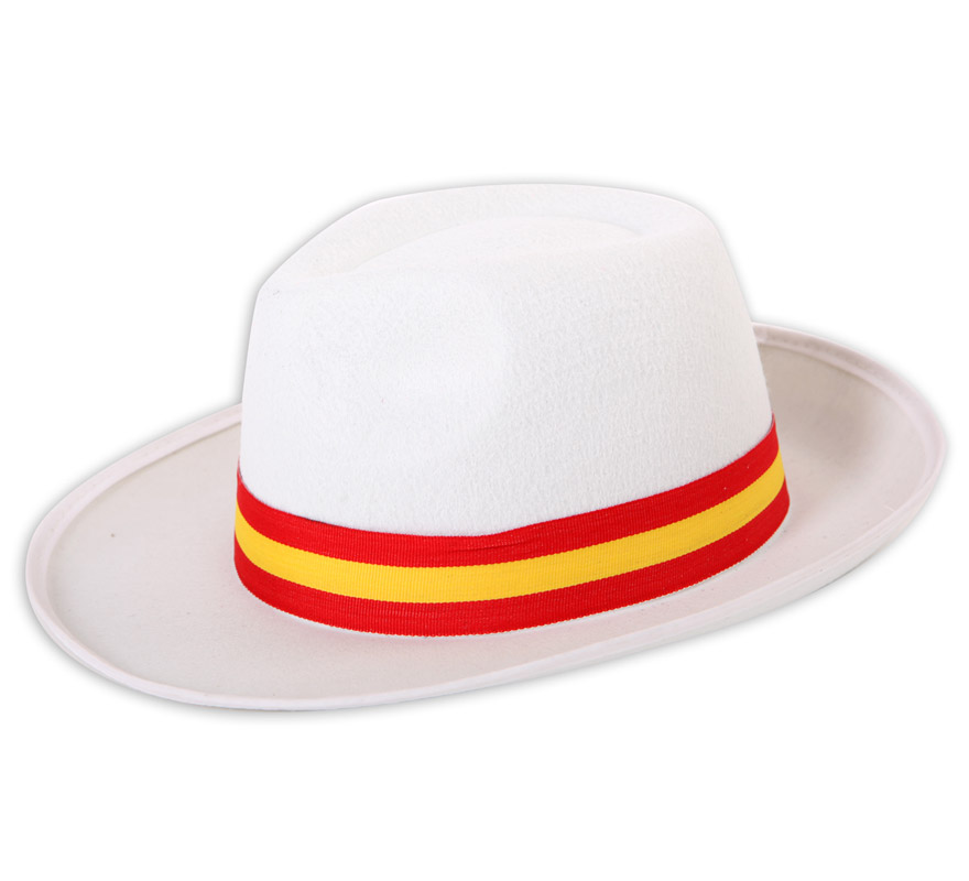 Sombrero o Gorro Gánster de fieltro con cinta de la bandera de España. Ideal para animar a la Selección Española.