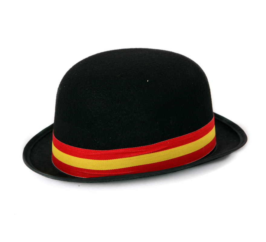 Sombrero bombín de fieltro negro con cinta de España. Ideal para animar a nuestra Selección Española.