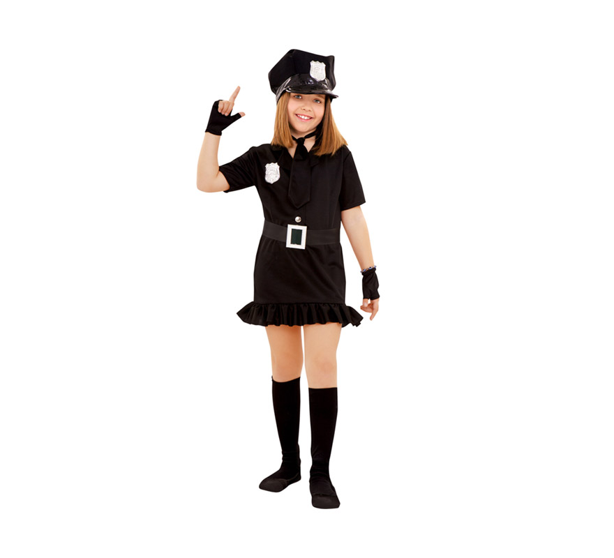 Disfraz de Policía para niñas de 3 a 4 años. Incluye gorra, vestido, cinturón, corbata y mitones.