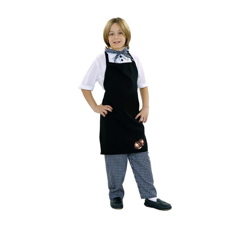 Disfraz de Castañero para niños de 5 a 6 años. Incluye camisa, pantalón, delantal y pañuelo.Ideal como disfraz de Cocinero.