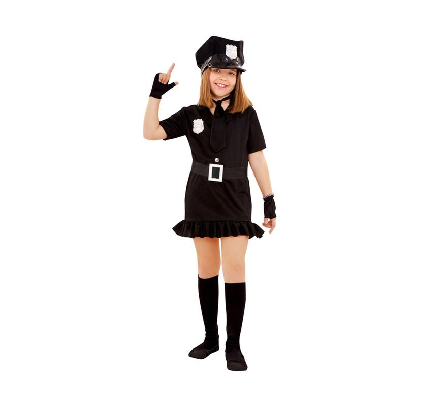 Disfraz de Policía para niñas de 7 a 9 años. Incluye gorra, vestido, cinturón, corbata y mitones.