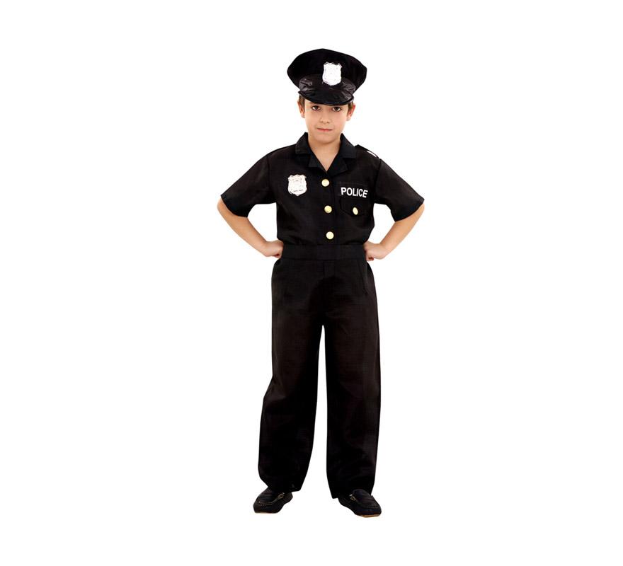 Disfraz de Policía para niños de 5 a 6 años. Incluye gorra, camisa y pantalón.
