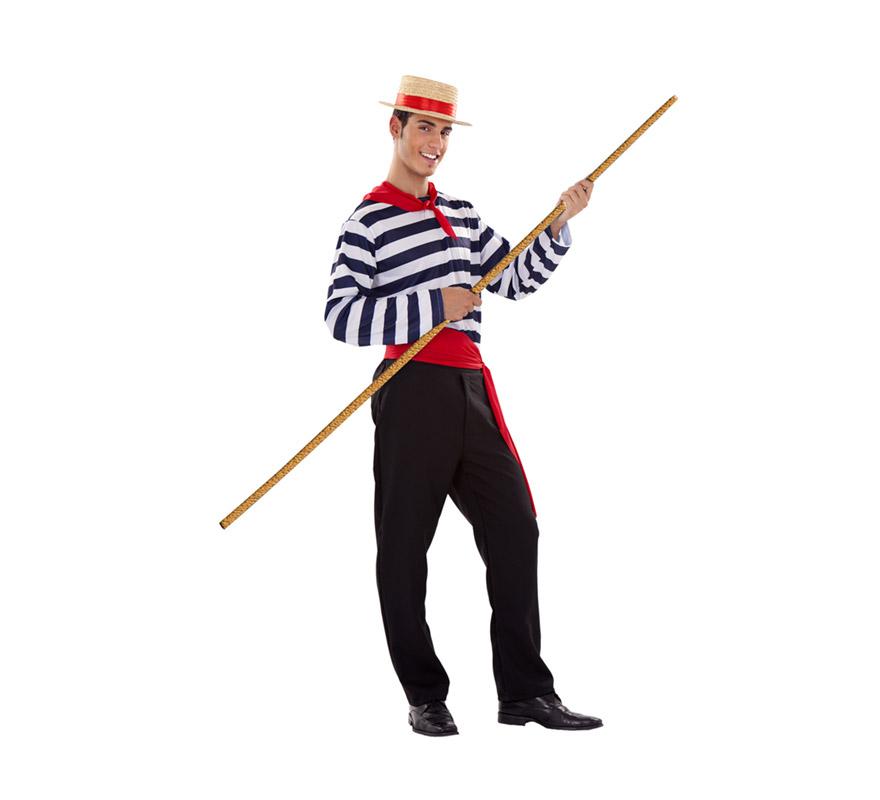 Disfraz de Veneciano para hombre. Talla standar M-L = 52/54. Incluye sombrero, pañuelo, camiseta, fajín y pantalón.