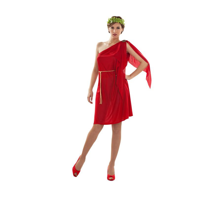 Disfraz de Patricia Romana rojo para mujer. Talla Standar M-L = 38/42. Incluye túnica, cinturón y tocado. También sirve como disfraz de Diosa Griega.