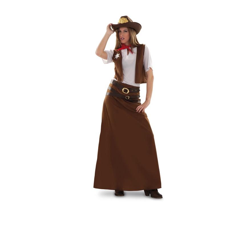 Disfraz de Vaquera para mujer. Talla standar M-L 38/42. Incluye falda, chaleco, pañuelo y 2 cinturones. Camisa y sombrero NO incluidos. El sombrero podrás verlo en la sección de Complementos. Traje de Pitolera para mujer talla M-L.