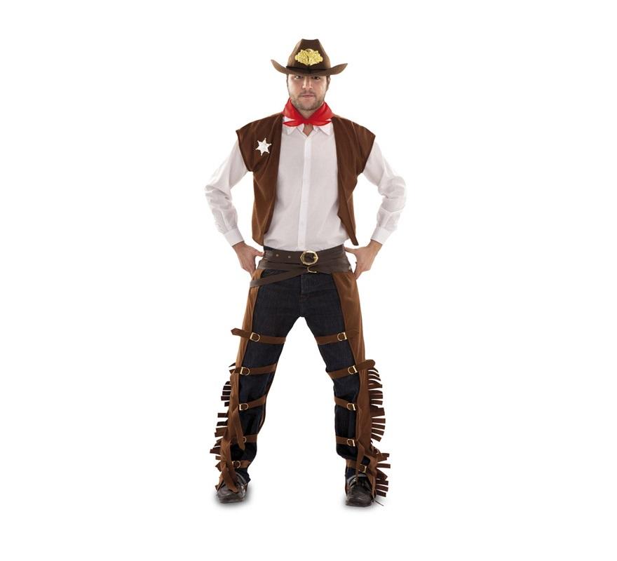 Disfraz de Vaquero adulto. Talla M-L 52/54. Incluye zahones, chaleco, pañuelo y cinturón. Camisa y sombrero NO incluidos. El sombrero podrás verlo en la sección de Complementos. Traje de Pitolero para hombre talla M-L.