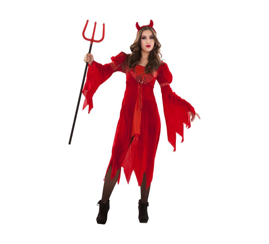 Disfraz de Diablesa lujosa adulta para Halloween. Talla S 34/38 para chicas delgadas y adolescentes . Disfraz de Halloween barato que incluye vestido y cuernos. Tridente NO incluido, podrás verlo en la sección de Complementos.
