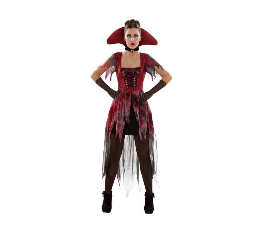 Disfraz de Vampiresa Gótica adulta para Halloween. Talla S 34/38 para chicas delgadas o adolescentes. Incluye vestido, cuello y guantes.