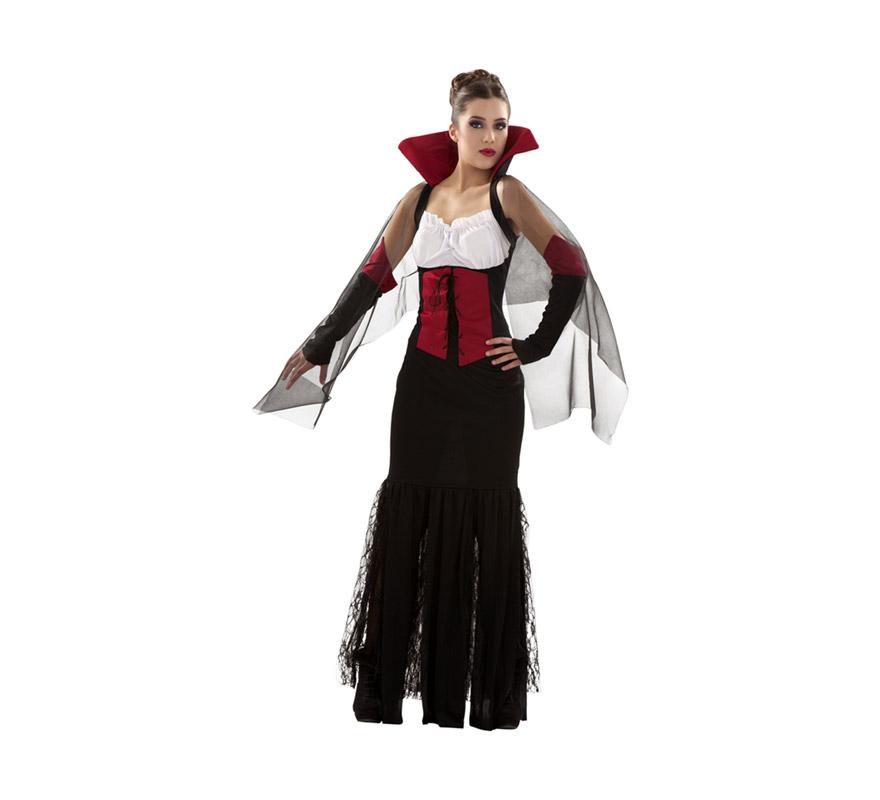 Disfraz de Vampiresa para mujer. Talla S 34/38 para chicas delgadas o adolescentes. Incluye vestido, cuello y mangas.