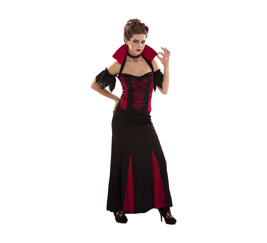 Disfraz de Señora Vampiresa para mujer. Talla S 34/38 para chicas delgadas o adolescentes. Incluye top con cuello, falda y gargantilla.