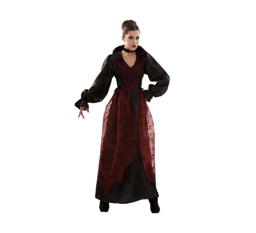 Disfraz de Vampiresa adulta para Halloween. Talla S 34/38. Disfraz barato para Halloween que incluye vestido y gargantilla.