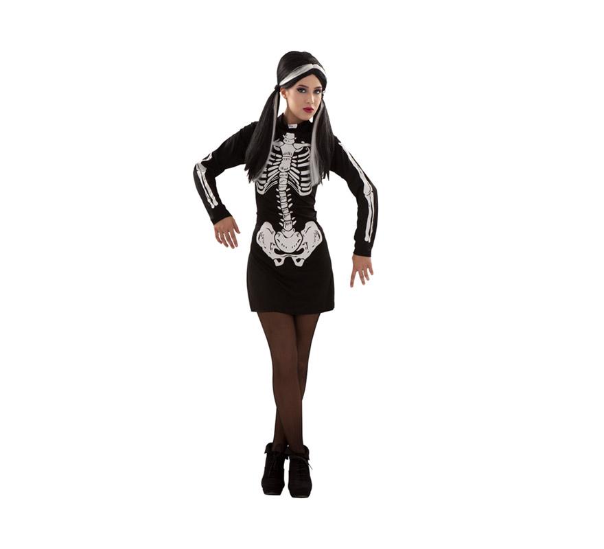 Disfraz de Esqueleto para mujer. Talla S 34/38 para chicas delgadas y adolescentes.