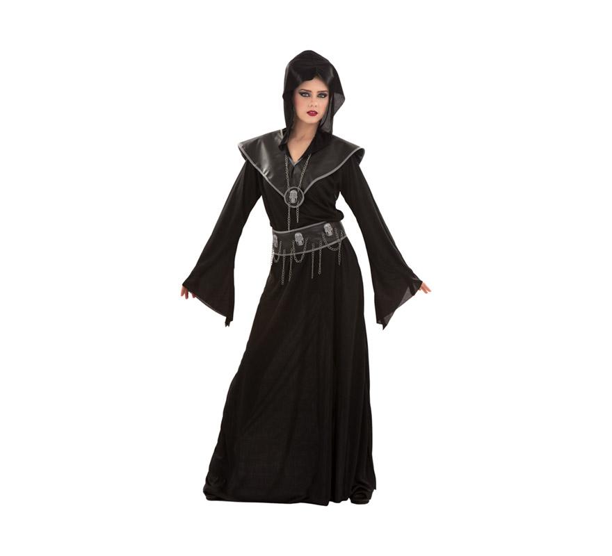 Disfraz de Ejecutora de las Calaveras para chicas. Talla S 34/38 para mujeres delgadas y adolescentes. Incluye vestido, cinturón y cuello.