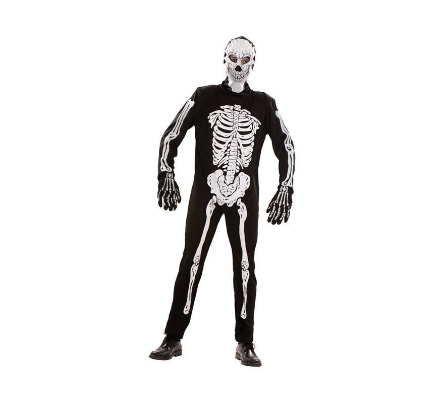 Disfraz de Esqueleto adulto para hombre. Talla S 48/52 para chicos delgados y adolescentes. Disfraz barato de Halloween que incluye capucha, mono y guantes.