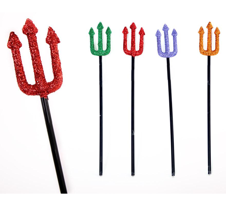 Tridente con purpurina 4 surtidos para Halloween. Precio por unidad, se venden por separado. Perfecto como complemento de los disfraces de Diablo y Diablesa.