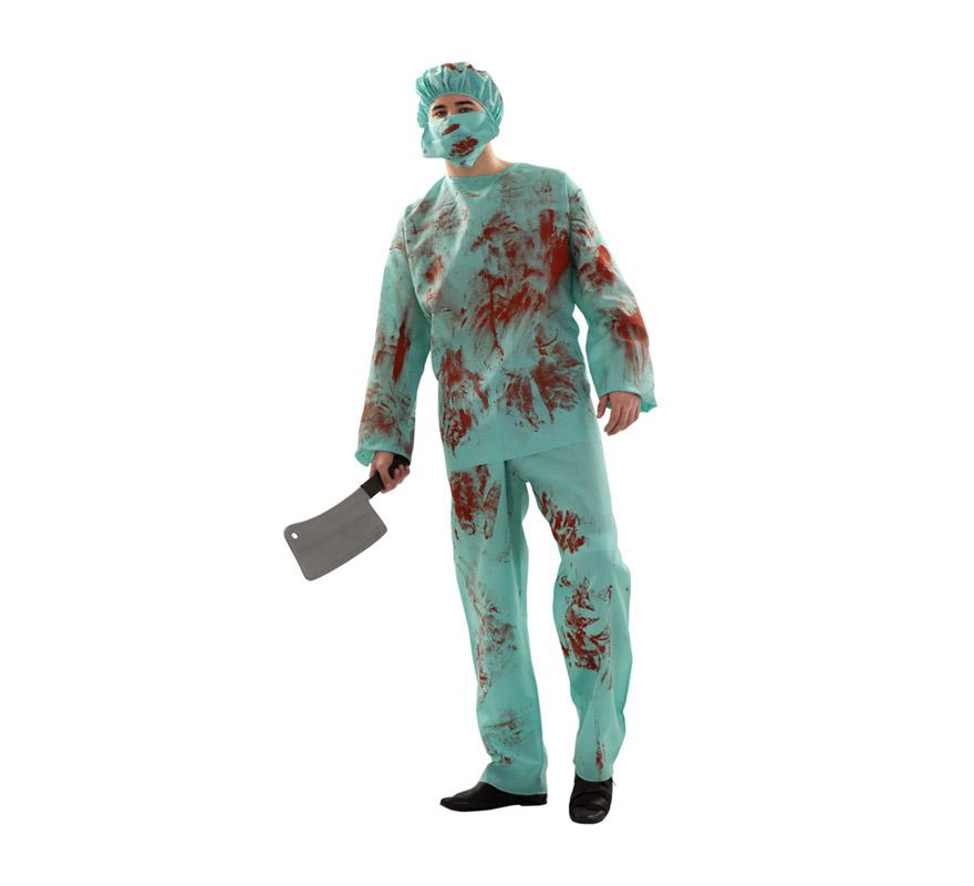 Disfraz de Cirujano salpicado de sangre para hombre. Talla S 48/52 para chicos delgados y adolescentes. Incluye camisa, pantalón, mascarilla y gorro. Hacha NO incluidda, podrás verla en la sección de Complementos.